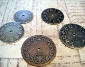 Clock Face Watch Face Clock Parts Assorted Pendants Charms Copper Silver Bronze-5pcs Steampunk Clock Pieces Cabochons