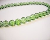 32 pieces Light Green Beads 10mm Glass Beads Faceted Glass Full Strand