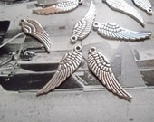 Angel Wing Charms Pendants Wings Antiqued Silver Angel Wings Charms 30mm-24pcs