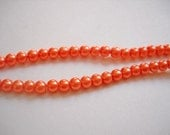 "216 pieces Orange Glass Beads Glass Pearls 4mm Coral Orange 32"" Strand Bulk Beads"
