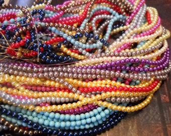 Glass Pearls Beads 4mm-Bulk Beads-Wholesale Beads-10 Strands 2160 pieces Assorted Colors