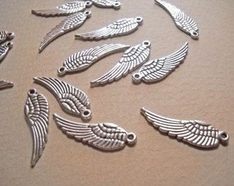 Angel Wing Charms Angel Wing Pendants Antiqued Silver Angel Wings 30mm Double Sided Wing Charms Pendants 10 pieces Wholesale Charms