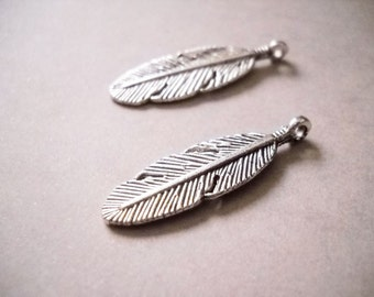 Feather Charms Silver Feather Charms Feather Pendants Silver Feathers Western Charms Silver Feather Charm 10 pieces