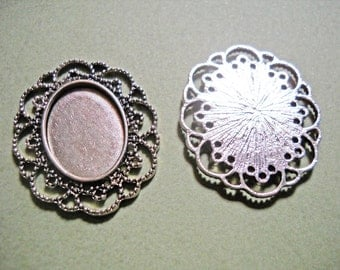 Blank Pendants Cabochon Settings Antiqued Silver 41mm 25x18 Setting Pendant Blanks 4 pieces