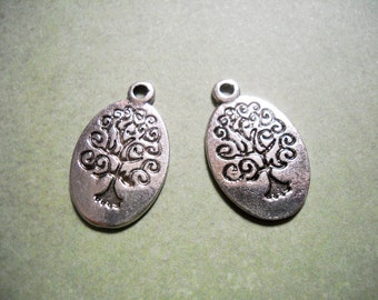Bulk Charms Tree of Life Charms Pendants Oval Charms Antiqued Silver Wholesale Charms 190pcs