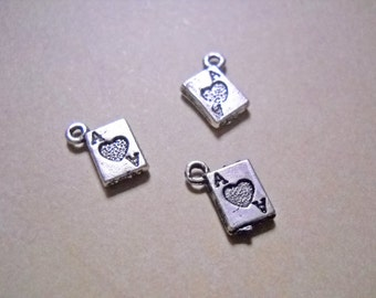 Card Charms Antiqued Silver Ace of Hearts Charms Miniature Charms Playing Card Charms Double Sided Wholesale Charms 20 pieces