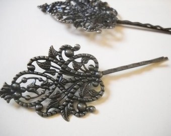 Bobby Pin Blanks Hair Accessory Blanks Antiqued Bronze Hair Pin Blanks Bobby Pins with Large Pad 90mm Filigree