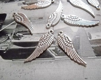 Angel Wing Charms Angel Wing Pendants Wings Antiqued Silver Angel Wings Charms 30mm 24 pieces Wing Charms Wing Pendants Double Sided WIngs