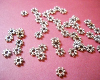 Metal Spacer Beads Spacers Antiqued Silver 4mm Spacers 100 pieces Bulk Beads