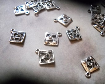 Geometric Square Charms-Silver-Geometry Charms