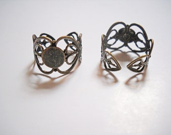 Ring Blanks Antiqued Bronze Filigree Ring Adjustable Rings 10 pieces