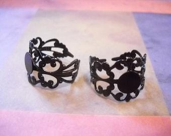 Ring Blanks Black Blank Rings Adjustable Ring Blanks Wholesale Rings Bulk Ring Blanks 40pcs