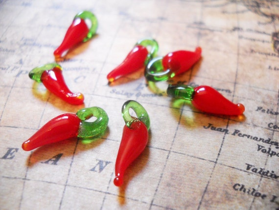Glass Chili Peppers-Chili Pepper Charms-Lampwork Glass Charms-10pcs-17mm