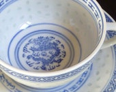 Year of the Dragon, fine Chinese Porcelain Tea Cup & Saucer, blue/ white, luck, power, strength