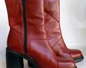 """Leather ankle boots, side Zipper, Burgundy Wine, 3.5"""" heels, size 7 1/2 M"""