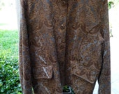 SALE...Tapestry Jacket, light blue and browns, Women's size 1X...GORGEOUS