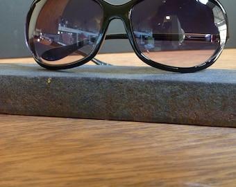 Black & Silver, Large Lens Sunglasses, Women's