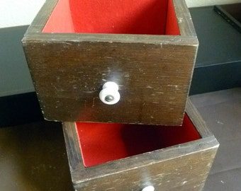 2 old Wood Drawers with White Porcelain Knobs