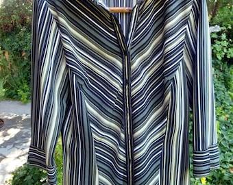 Smart Stripes in Moss Green, Women's blouse, size medium