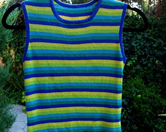 BRITE Stripes, thin ribbed Sweater, sleeveless, blues, greens and yellow