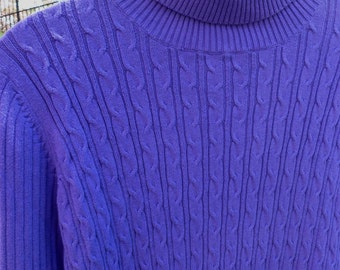 25% OFF... Purple Cableknit turtleneck Sweater, size petite medium, quality EVAN PICONE