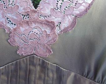 Sage Green Satin Camisole, beige lace trim, Size Large