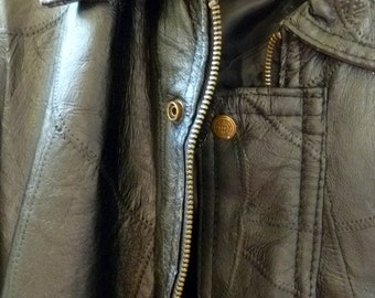 SALE...Black Leather Jacket, Men's size Large, zipper front