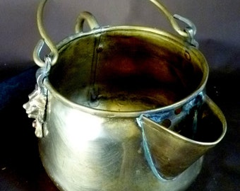 Handcrafted BRASS container, Lion's head