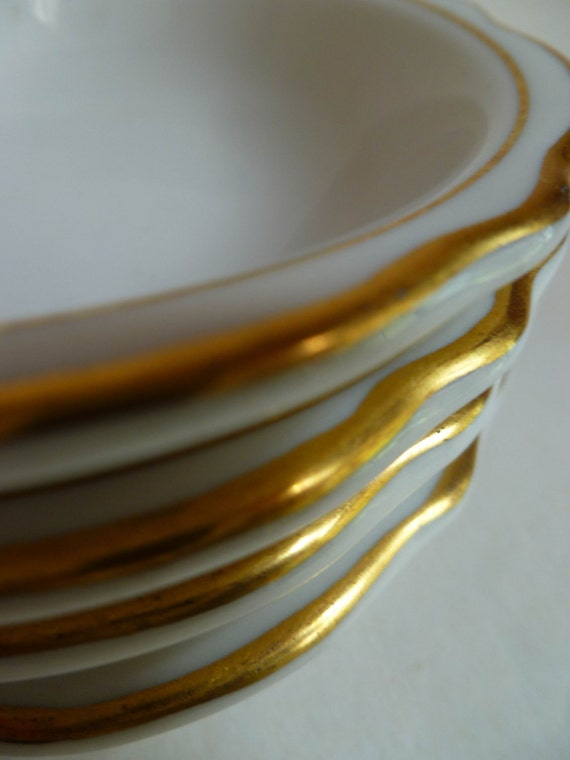 Antique CHINA bowls, real GOLD rims, small bowls, monkey dishes, Dessert dishes