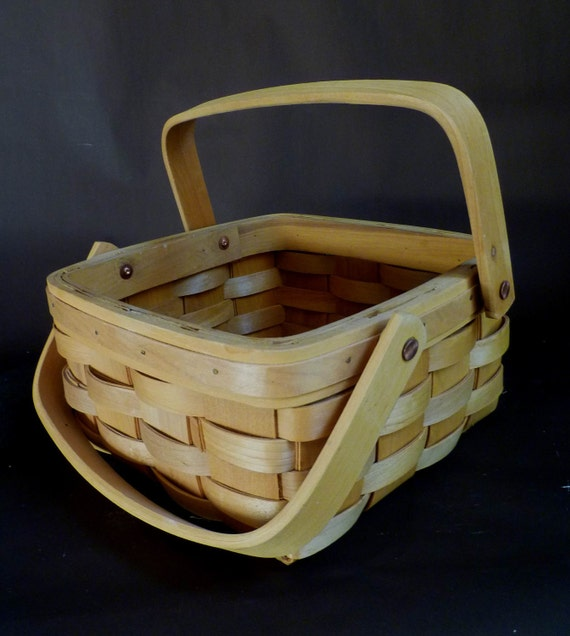 Vintage Basket, Longaberger style, square with handles