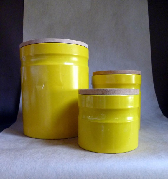 danish modern canister set bright yellow metal with wood lids