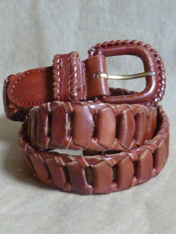 leather link belt brown size small
