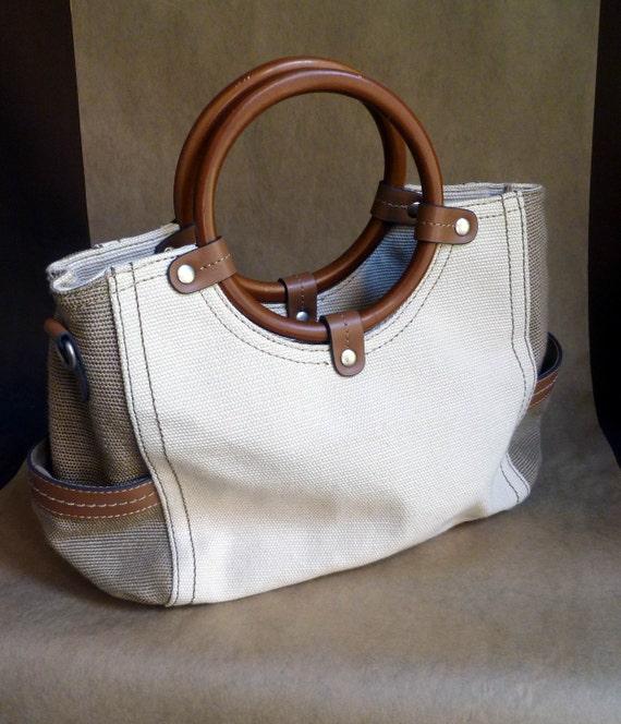 Summer Handbag, ecru and taupe