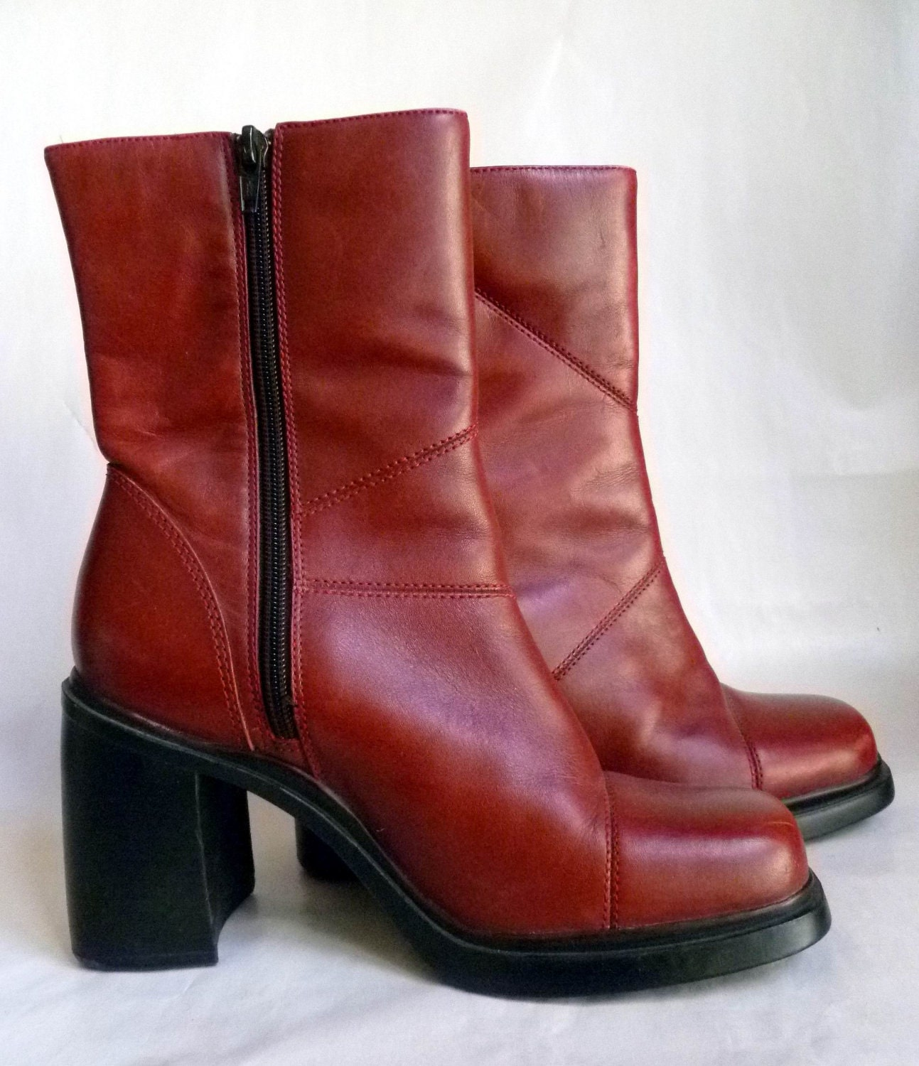 leather ankle boots side zipper burgundy wine 3 5