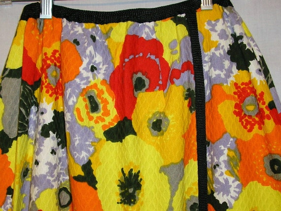 Vtg 70's GARDEN PARTY Andy Warhol Yellow Floral MAXI Wrap Skirt M