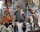 The Original EarthenPurl Hoodie: Solid Design. MADE-2-ORDER. handknit and crocheted woodland hoodie shrug.