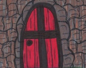 Original ACEO Red Door Scripture Art