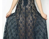 Vintage NAVY Lace SHEER Corset Witchy GOTHIC Sexy Dress Women Size Small