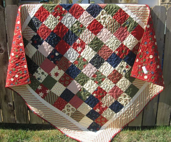 Christmas Quilt Traditional Reindeer Games Black Friday Etsy Cyber Monday Etsy
