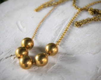 SALE - Monili - geometric vintage brass round beads long necklace