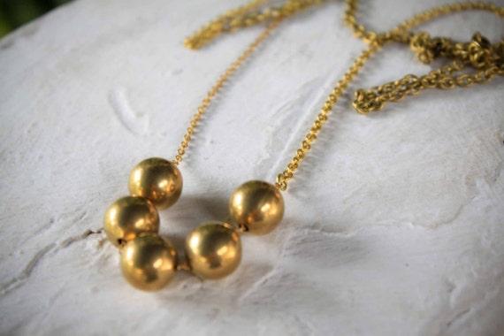 SALE - Monili - geometric vintage brass round beads long necklace
