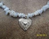 Blue Lace Agate Necklace with Silver Heart