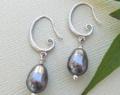 Dark Gray Pearl Earrings with Silver Swirls