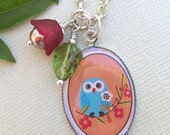 Charming Owl Necklace with Flower