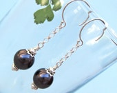Black Pearl Earrings with Sterling Silver Dangle