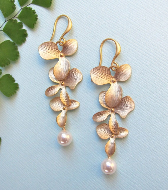 Gold Orchid Earrings with Pearls