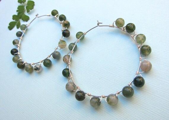 Hoop Earrings with Green Agate Stones