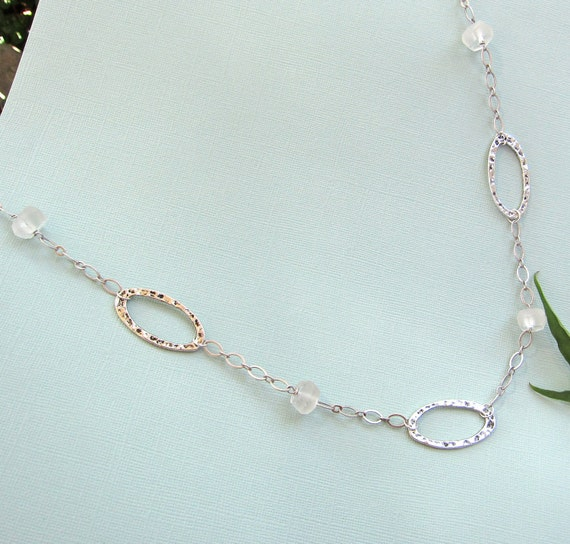 Recycled Glass Necklace in Silver