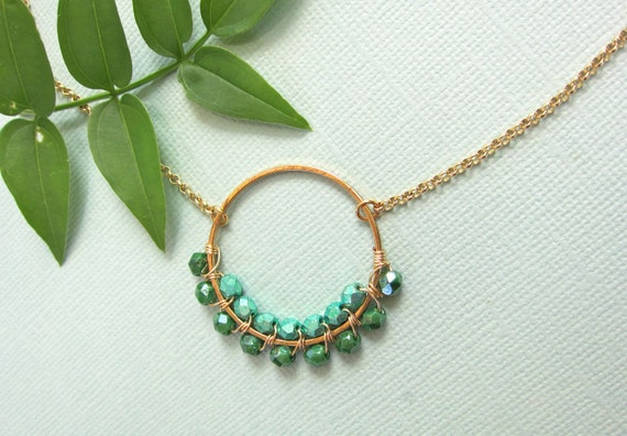 Gold Circle Necklace in Green