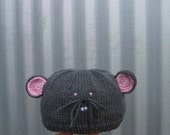 Mouse hat (featured in the 2011 winter edition of Peppermint Magazine Australia), pure wool, for toddler